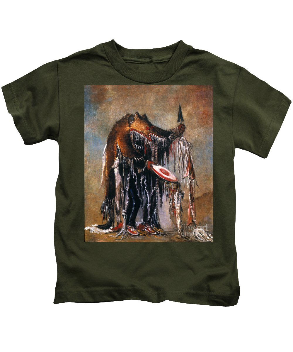 1832 Kids T-Shirt featuring the photograph Blackfoot Medicine Man by Granger