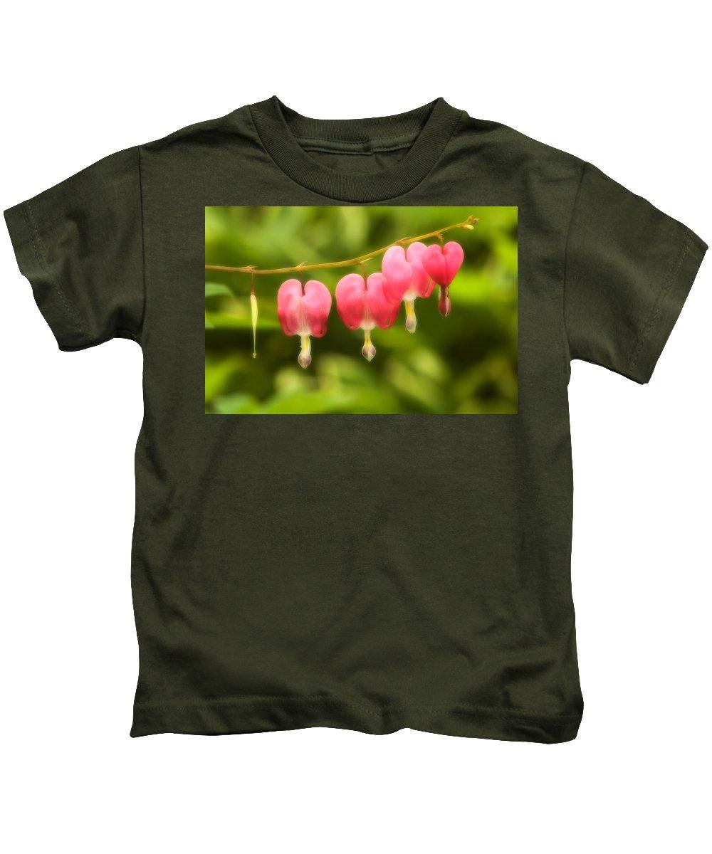 Flower Kids T-Shirt featuring the photograph Bleeding Hearts by Sebastian Musial