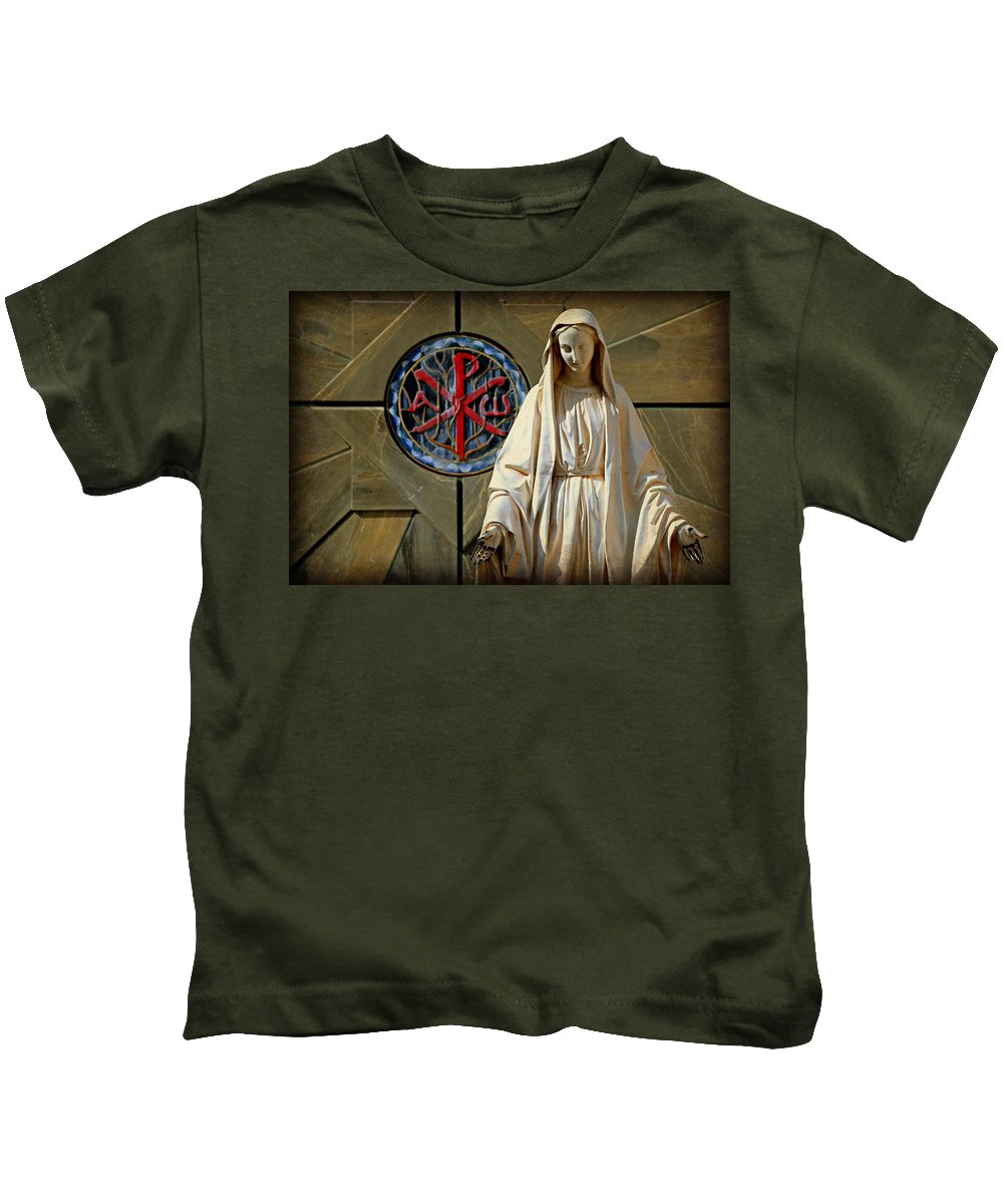 Religion Kids T-Shirt featuring the photograph Blessed Virgin Mary -- Nazareth by Stephen Stookey