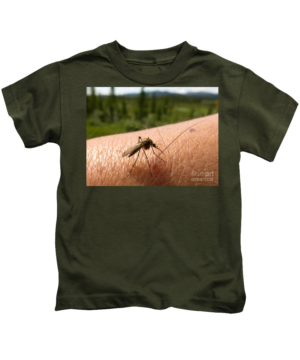 Animal Kids T-Shirt featuring the photograph Blood Thirsty Mosquito On Human Arm by Stephan Pietzko