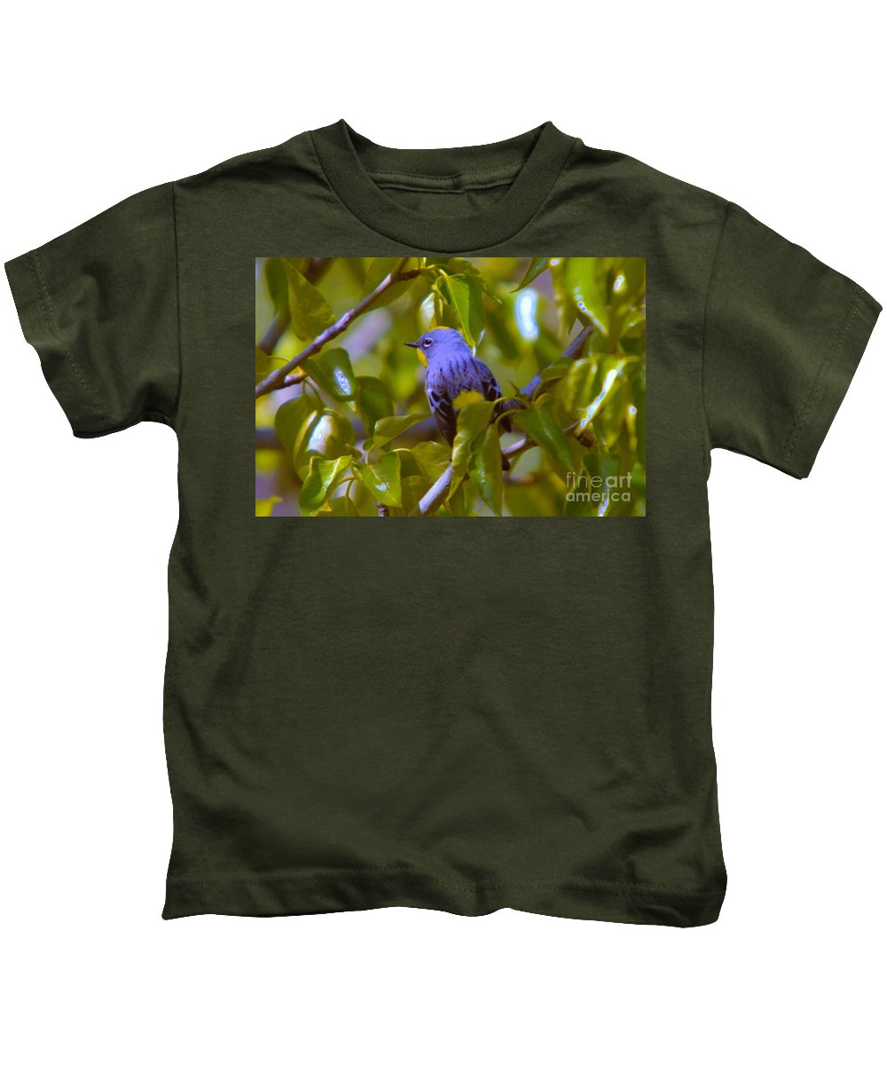 Birds Kids T-Shirt featuring the photograph Blue Bird With A Yellow Throat by Jeff Swan