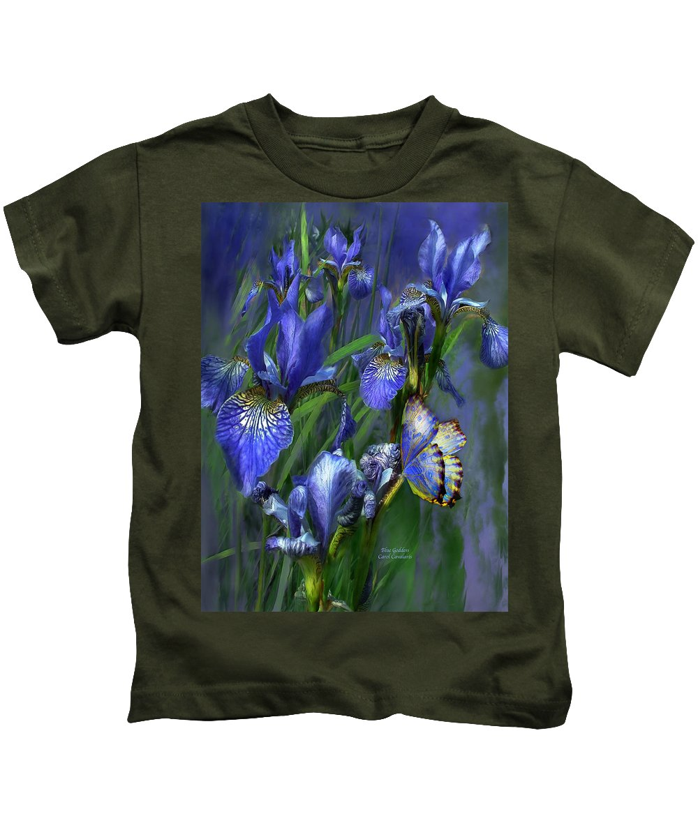 Iris Kids T-Shirt featuring the mixed media Blue Goddess by Carol Cavalaris
