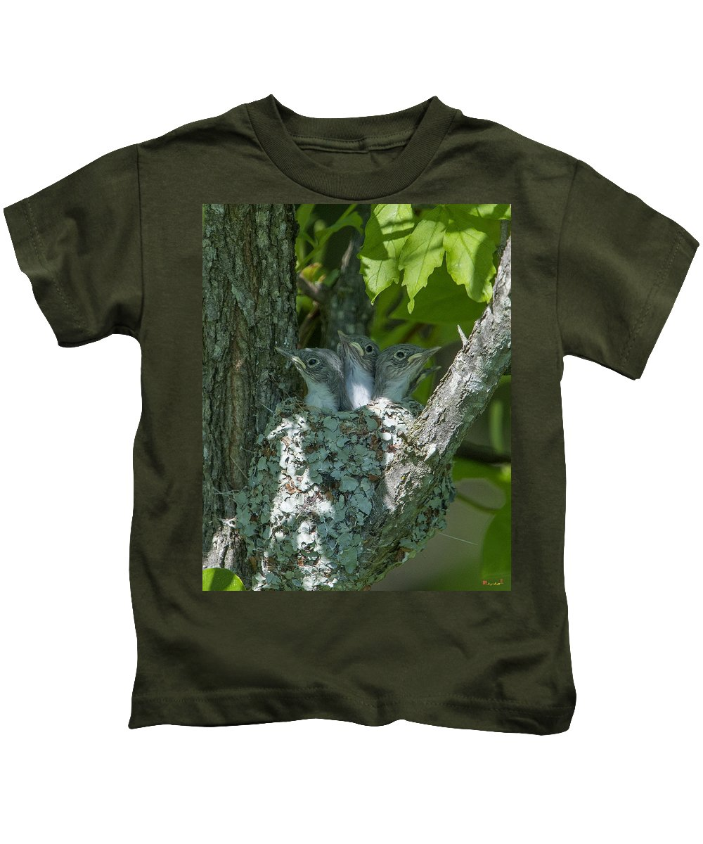 Nature Kids T-Shirt featuring the photograph Blue-gray Gnatcatcher Nestlings Dsb253 by Gerry Gantt