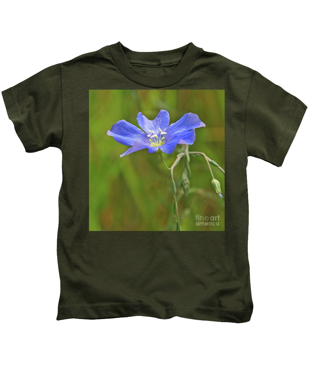 Flower Kids T-Shirt featuring the photograph Blue Petal Peace by Kelly Black