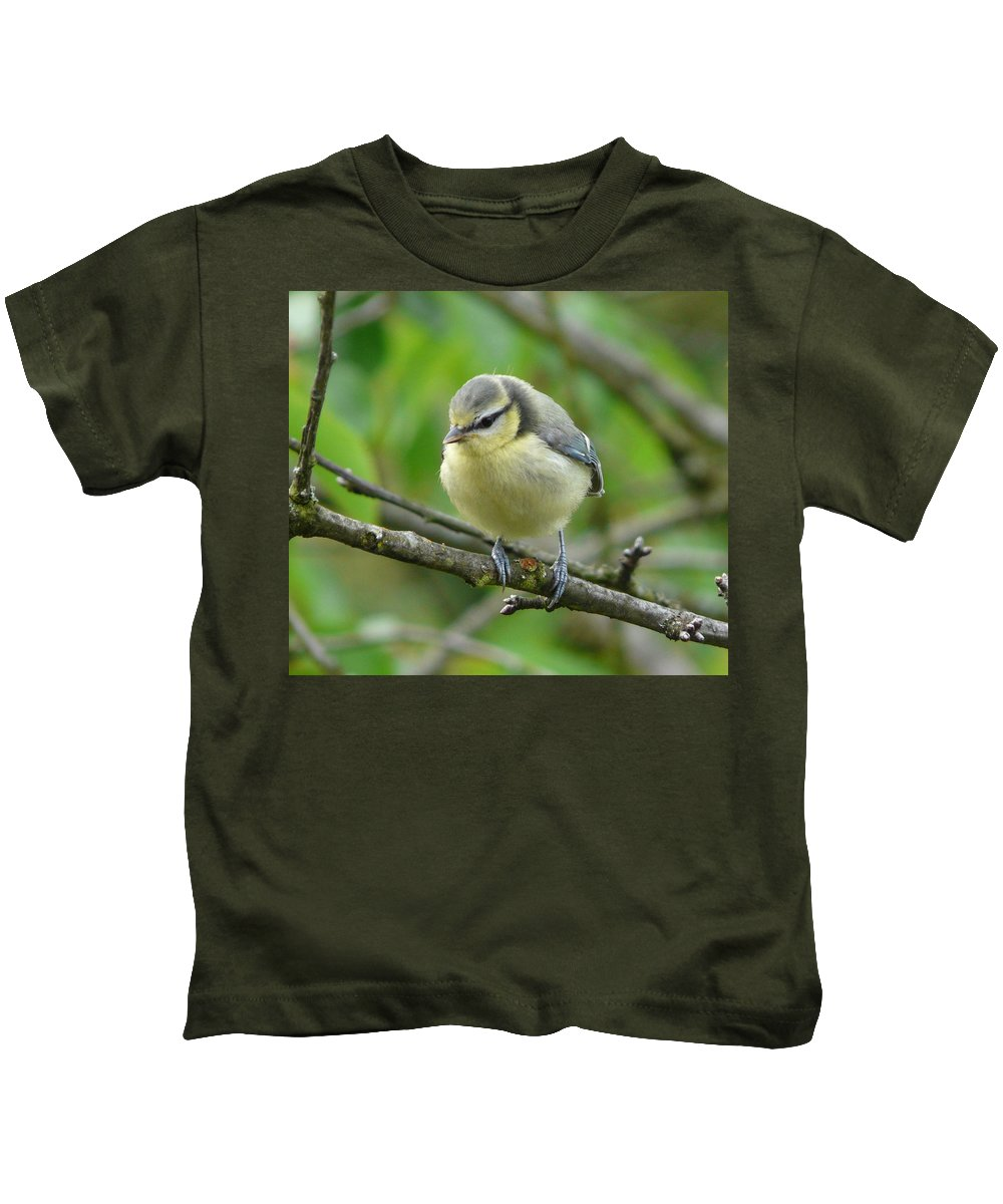 Bird Kids T-Shirt featuring the photograph Blue Tit In A Cherry Tree by Valerie Ornstein