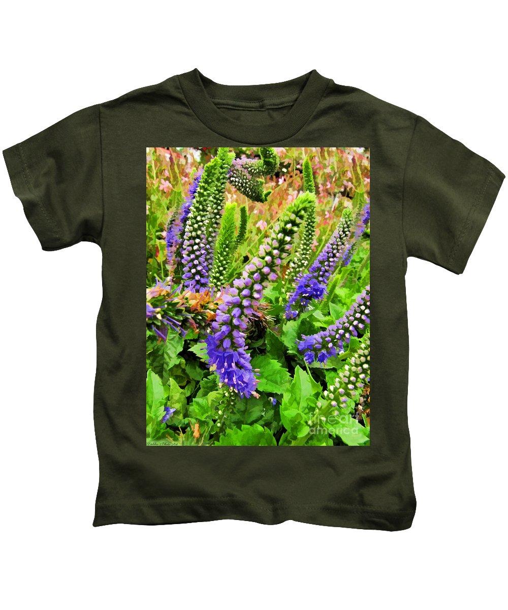 Nature Kids T-Shirt featuring the photograph Blue Veronica Flowers  Digital Paint by Debbie Portwood