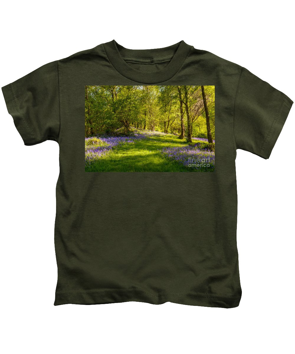 Bluebells Kids T-Shirt featuring the photograph Bluebells by Amanda Elwell