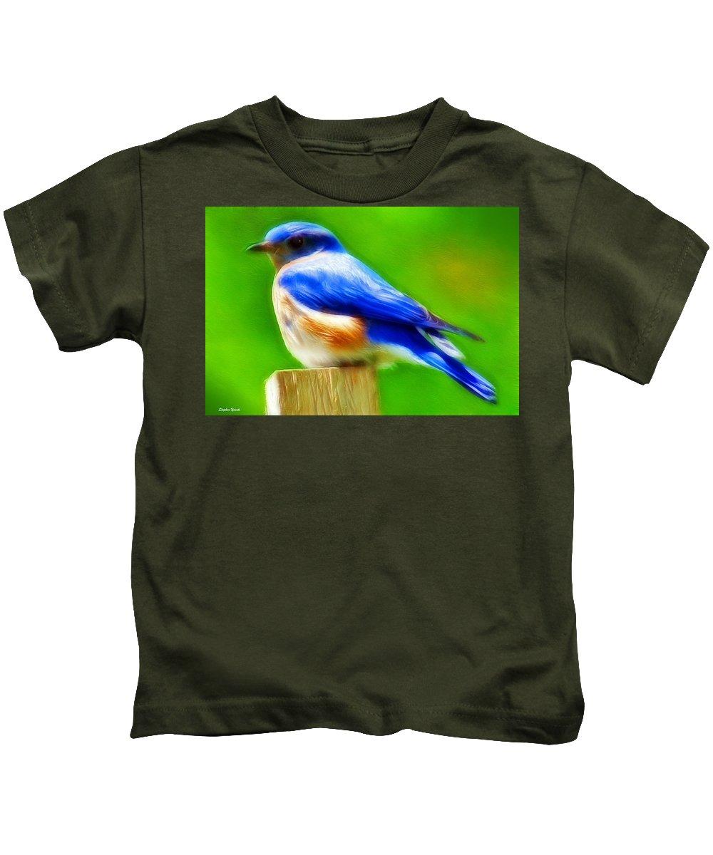Blue Kids T-Shirt featuring the digital art Bluebird by Stephen Younts