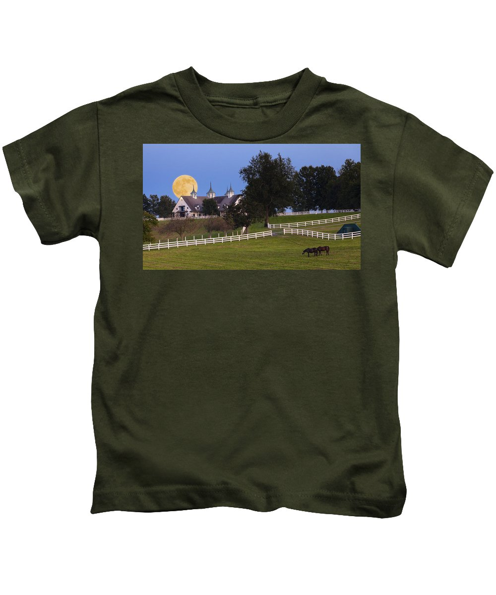Farm Kids T-Shirt featuring the photograph Bluegrass Moonrise by Alexey Stiop