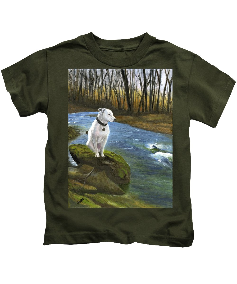 Dog Kids T-Shirt featuring the painting Bo At The Patapsco by Deborah Butts