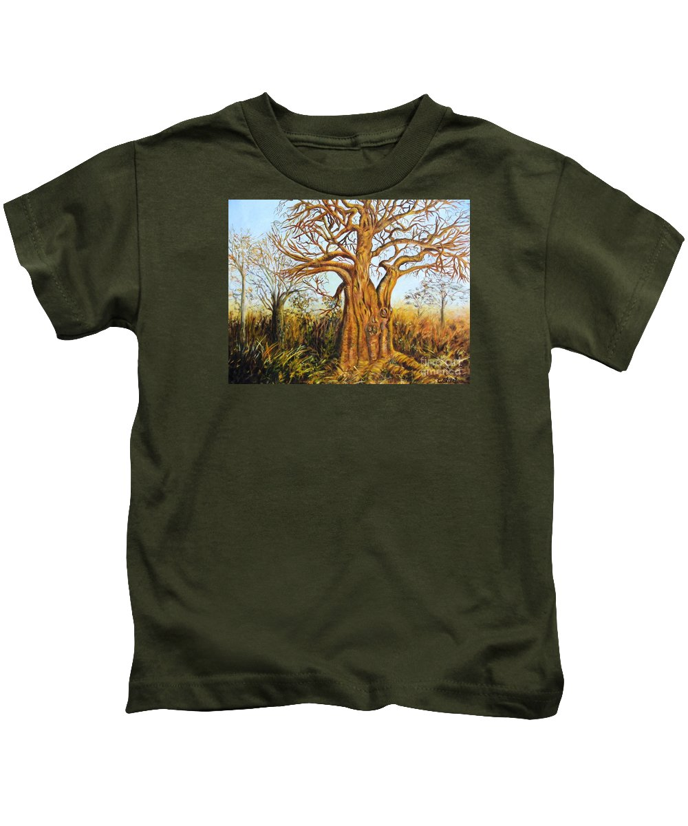 Trees Kids T-Shirt featuring the painting Baobab Tree by Caroline Street