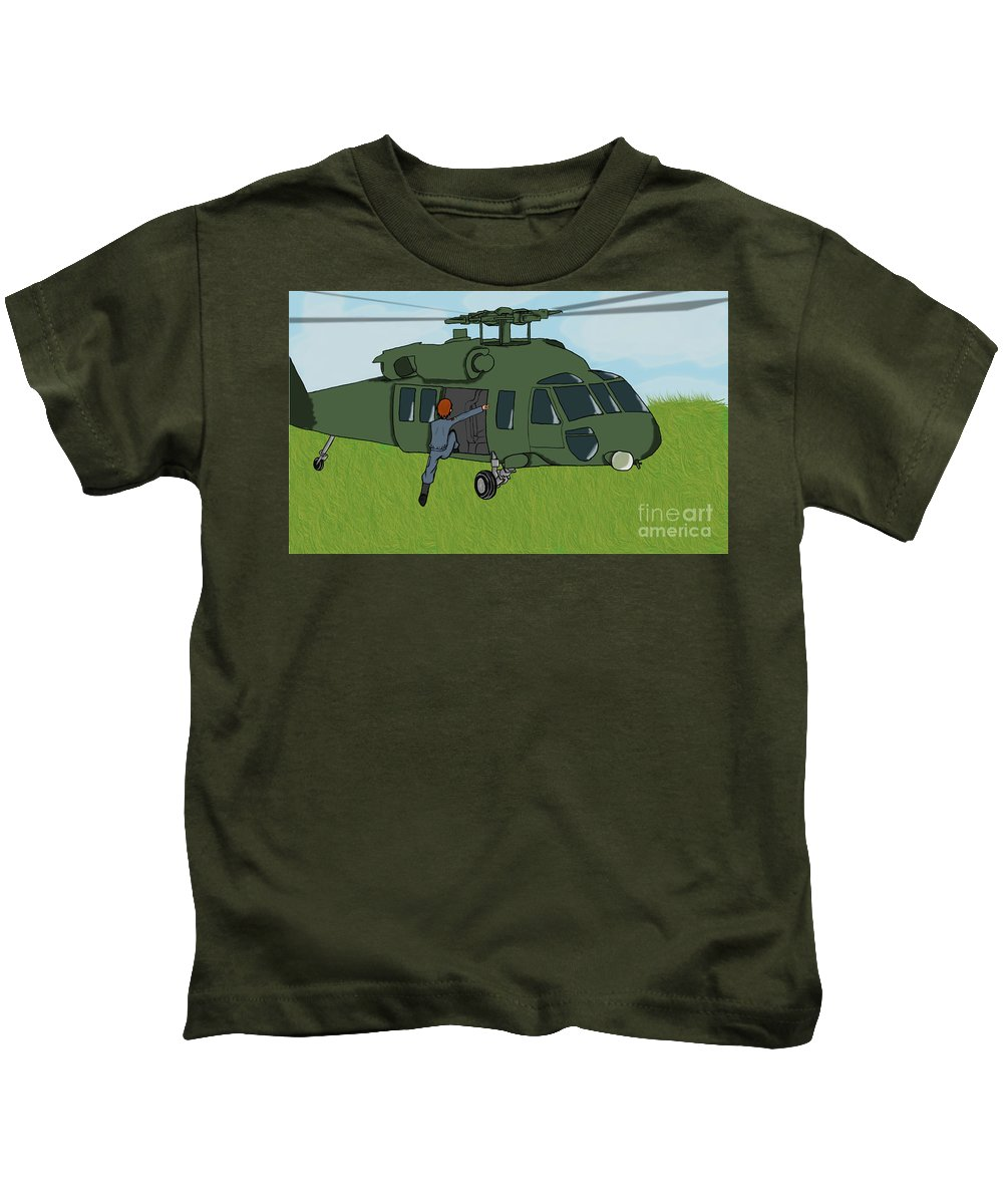 Helicopter Kids T-Shirt featuring the digital art Boarding A Helicopter by Yael Rosen