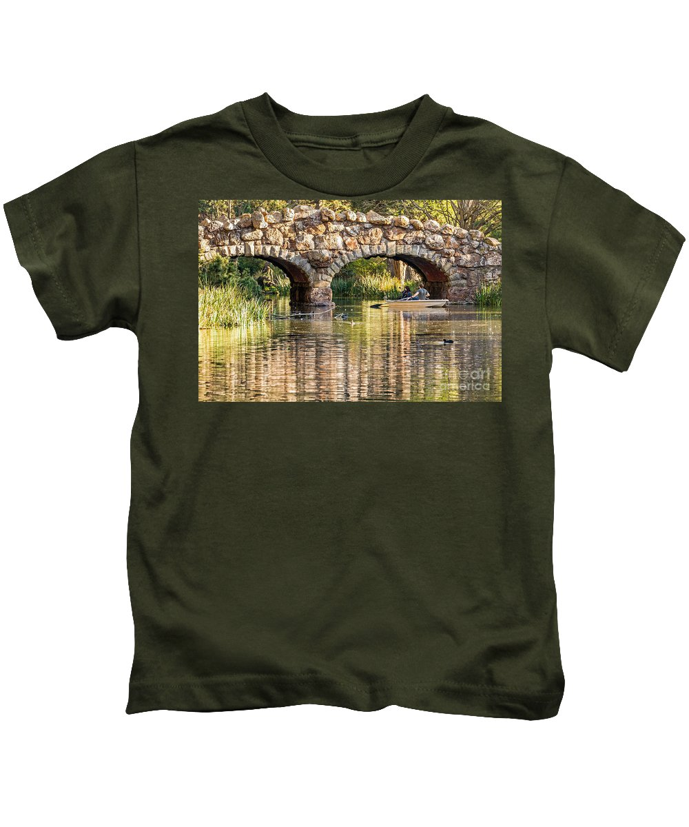 American Coot Kids T-Shirt featuring the photograph Boaters Under The Bridge by Kate Brown