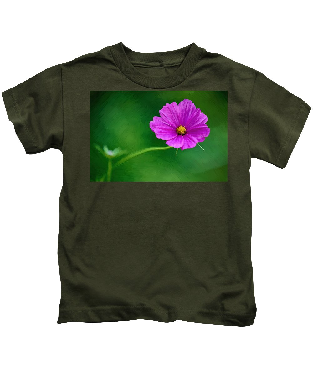 Flower Kids T-Shirt featuring the painting Bohemian Garden Magenta by John Haldane
