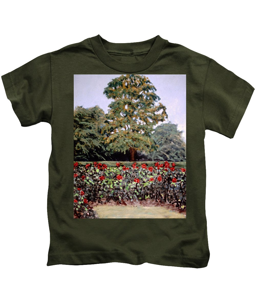 Flower Landscape Paintings Kids T-Shirt featuring the painting Bon Air Park by David Zimmerman