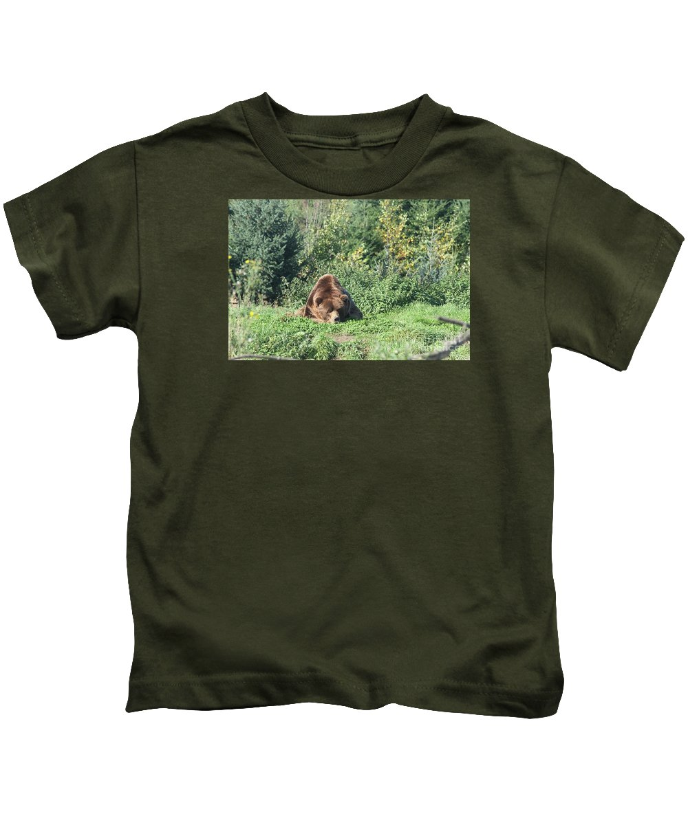 Brown Bear Kids T-Shirt featuring the photograph Boring by Christiane Schulze Art And Photography
