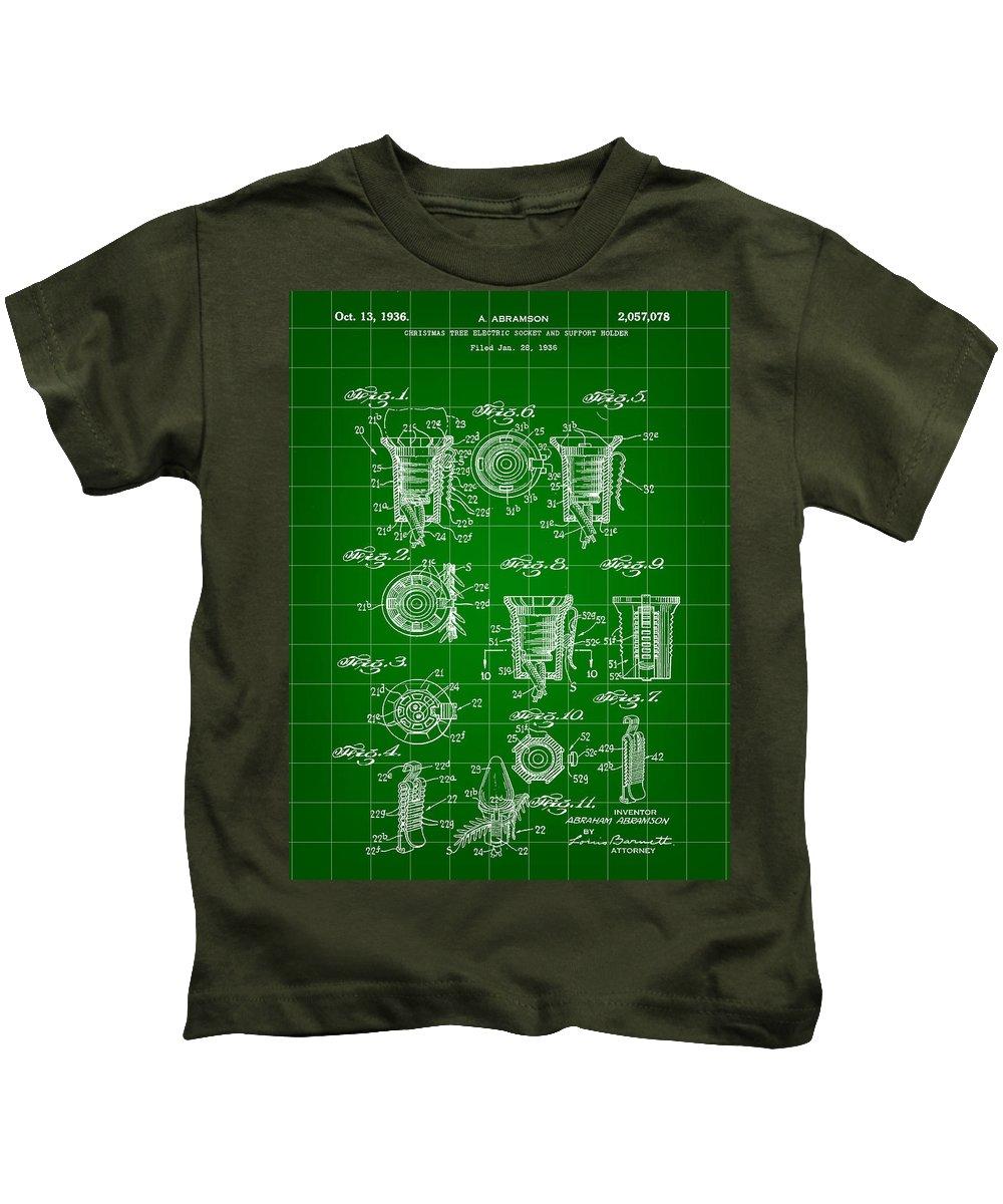 Bottle Kids T-Shirt featuring the digital art Bottle Cap Patent 1892 - Green by Stephen Younts