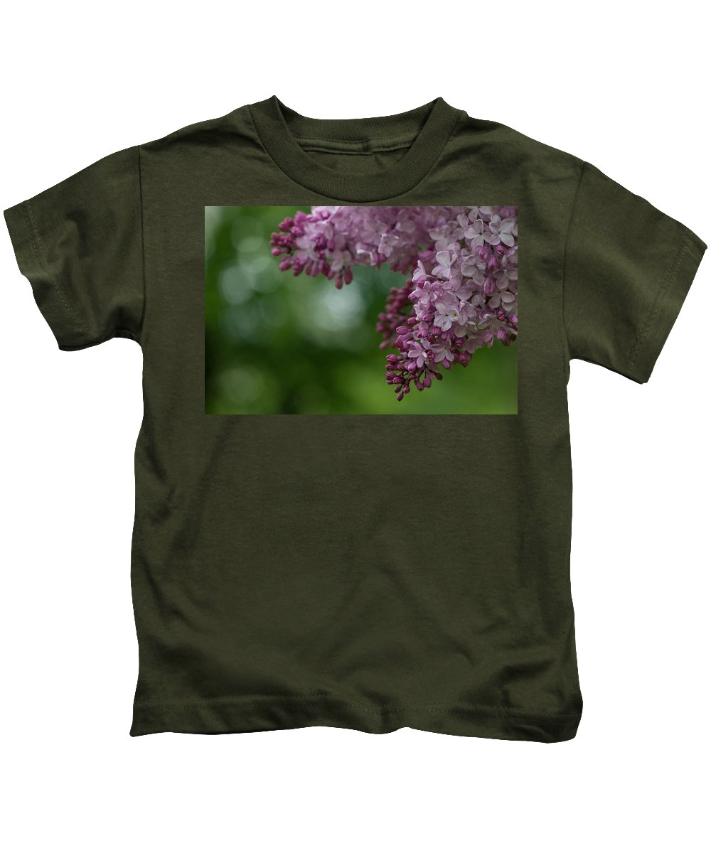 Background Kids T-Shirt featuring the photograph Branch With Spring Lilac Flowers by TouTouke A Y