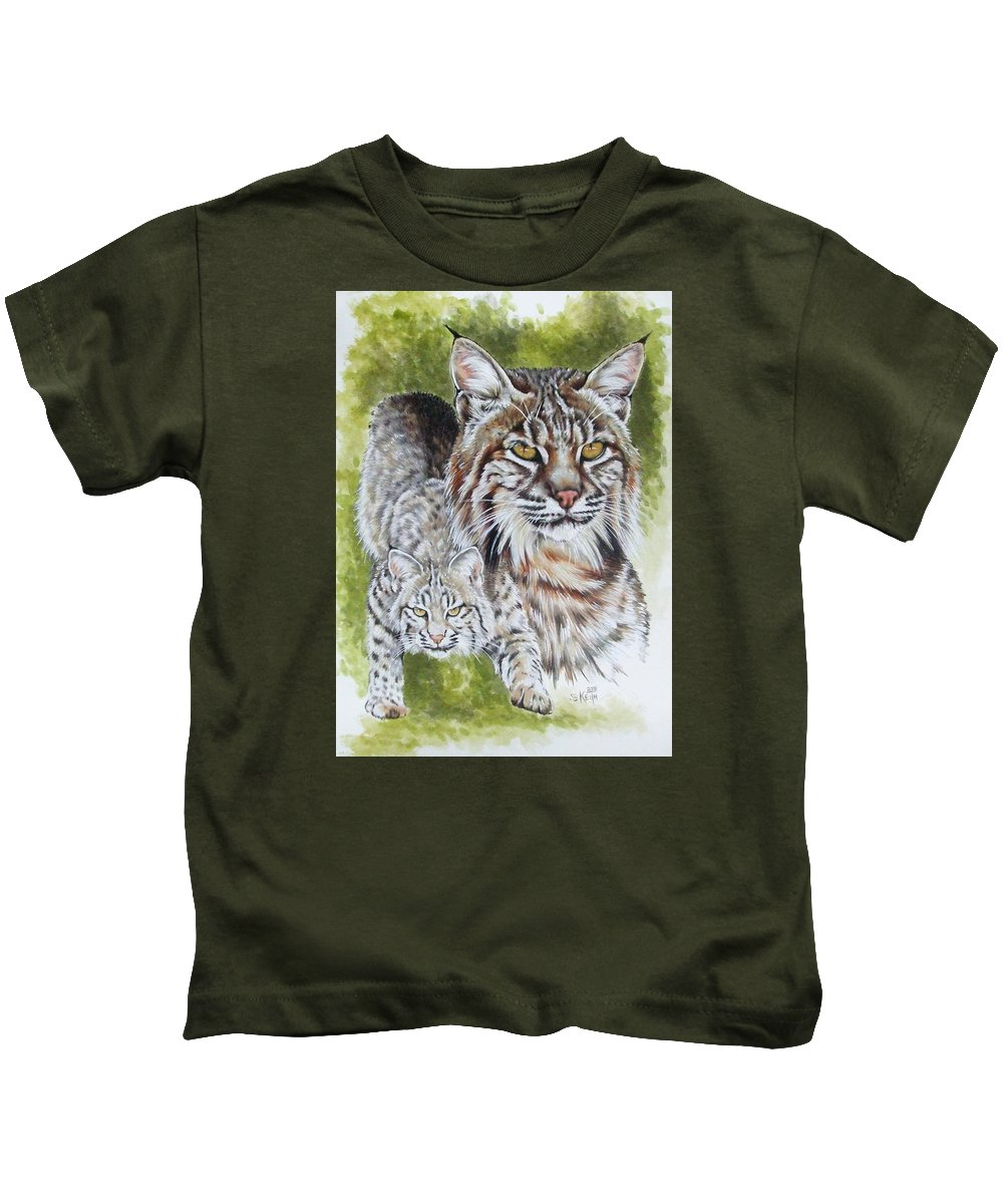 Small Cat Kids T-Shirt featuring the mixed media Brassy by Barbara Keith