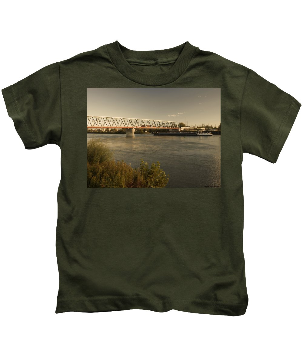 Winterpacht Kids T-Shirt featuring the photograph Bridge Over Rhein River by Miguel Winterpacht