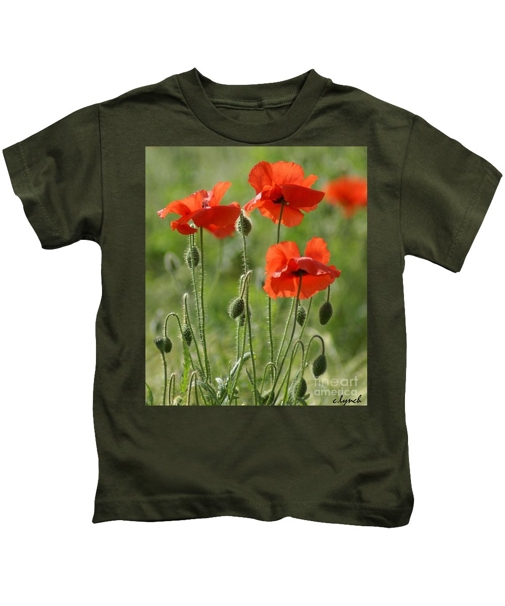Poppies Kids T-Shirt featuring the photograph Bright Poppies 1 by Carol Lynch
