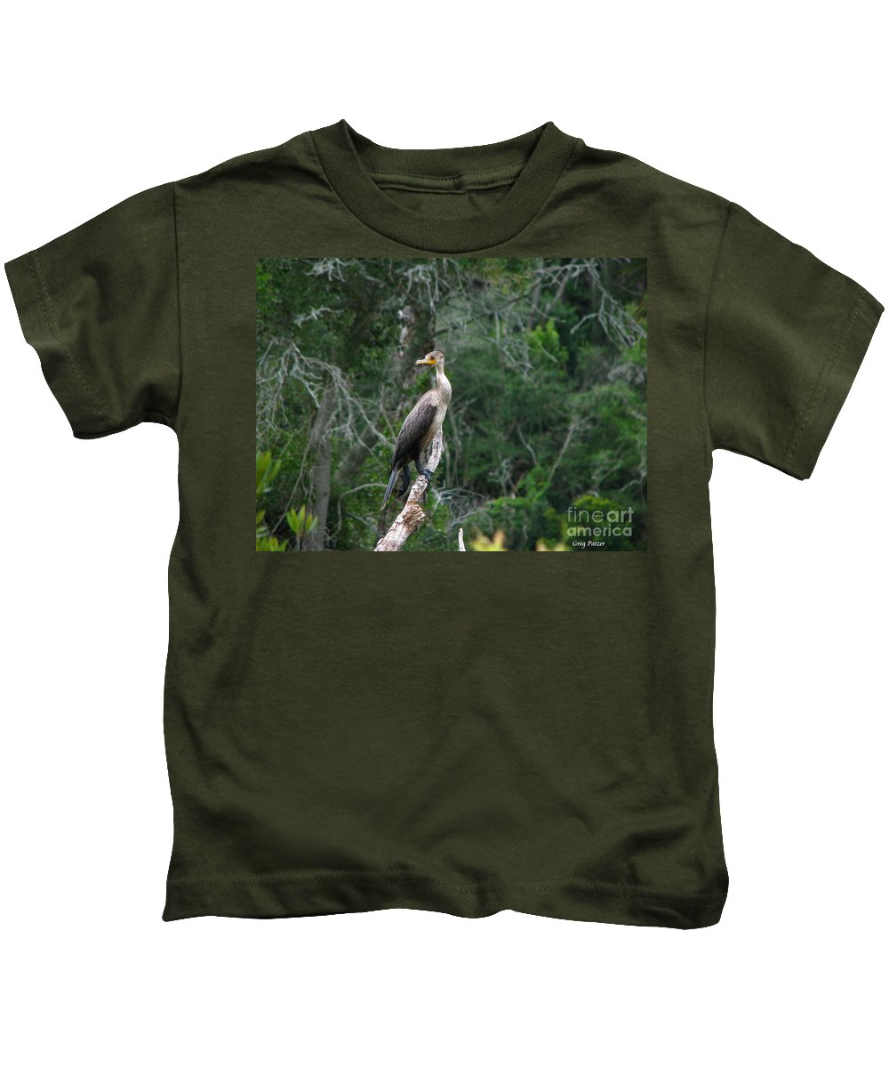 Patzer Kids T-Shirt featuring the photograph Bristol Cormorant by Greg Patzer