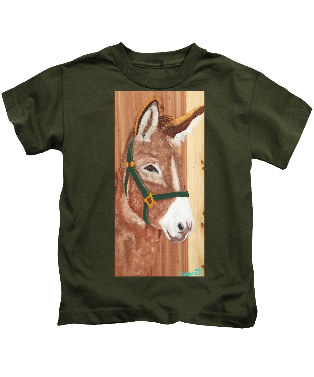 Donkey Kids T-Shirt featuring the painting Brown Donkey On Cedar by Debbie LaFrance