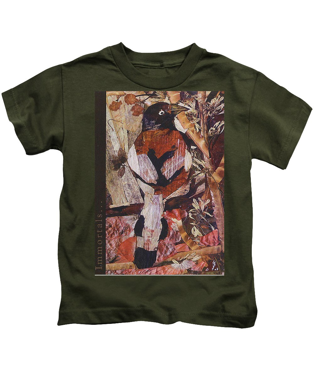 Brown-white-bird Kids T-Shirt featuring the mixed media Brown- White Bird by Basant Soni