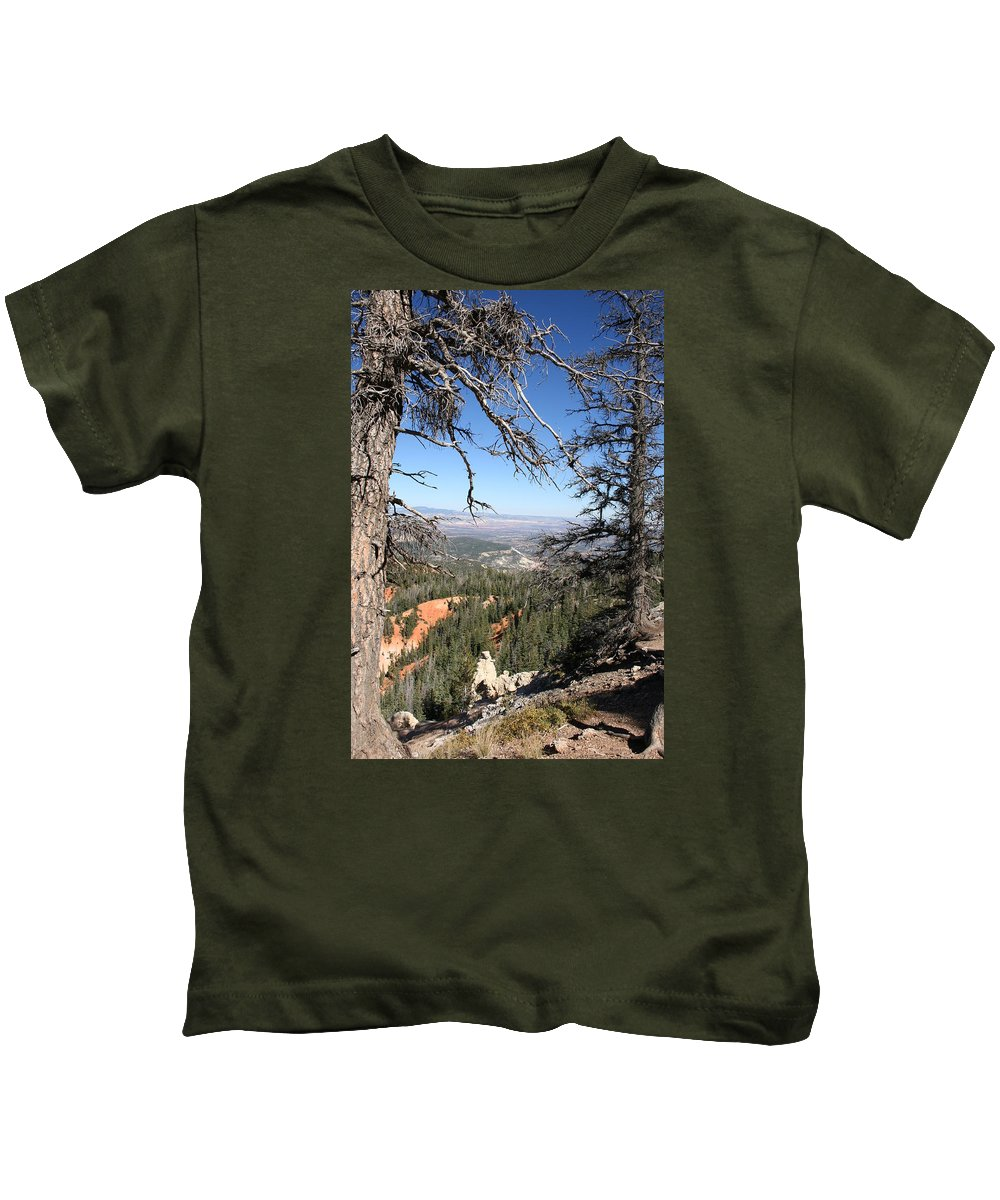 Trees Kids T-Shirt featuring the photograph Bryce Canyon Overlook With Dead Trees by Christiane Schulze Art And Photography