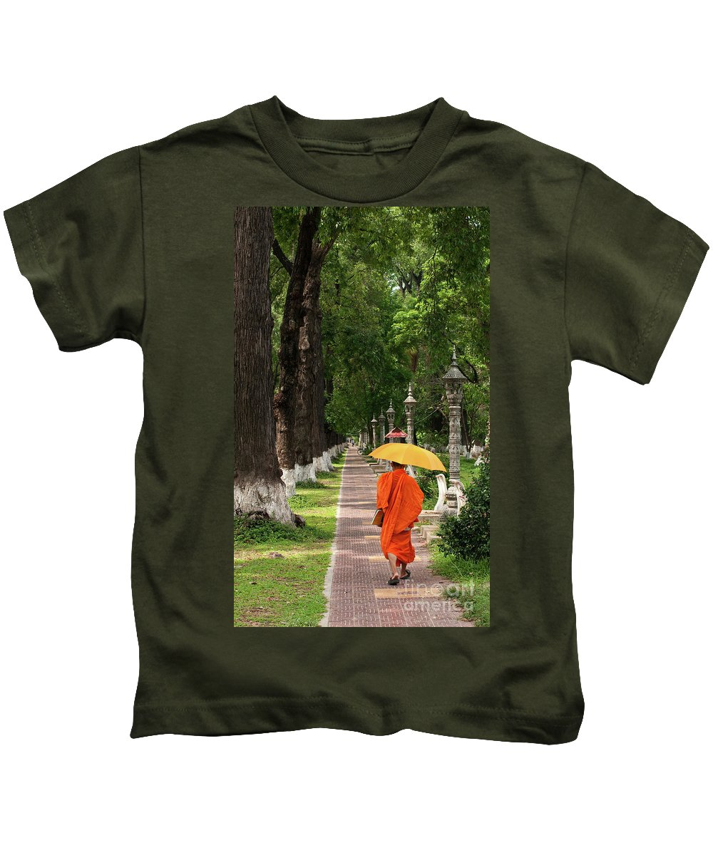 Cambodia Kids T-Shirt featuring the photograph Buddhist Monk 01 by Rick Piper Photography