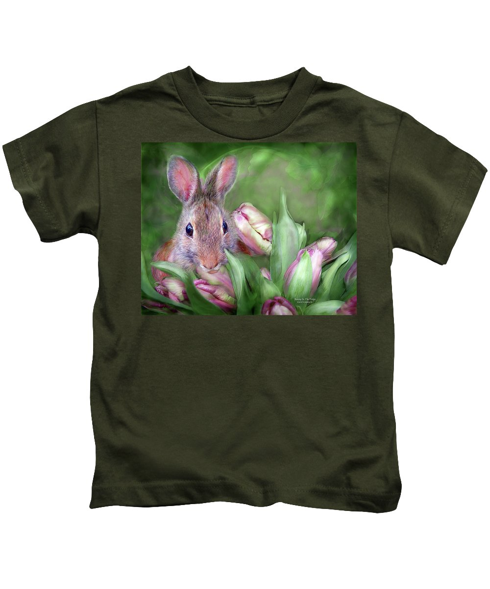 Bunny Kids T-Shirt featuring the mixed media Bunny In The Tulips by Carol Cavalaris