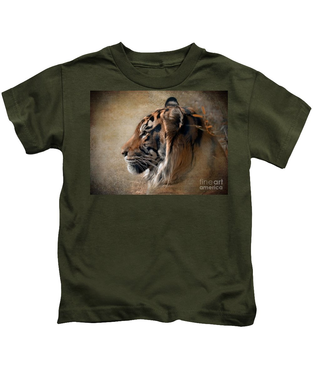 Tiger Kids T-Shirt featuring the photograph Burning Bright by Betty LaRue