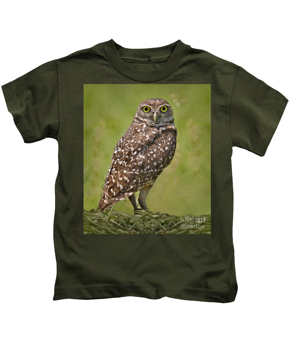 Burrowing Owl Kids T-Shirt featuring the photograph Burrowing Owl by Susan Candelario