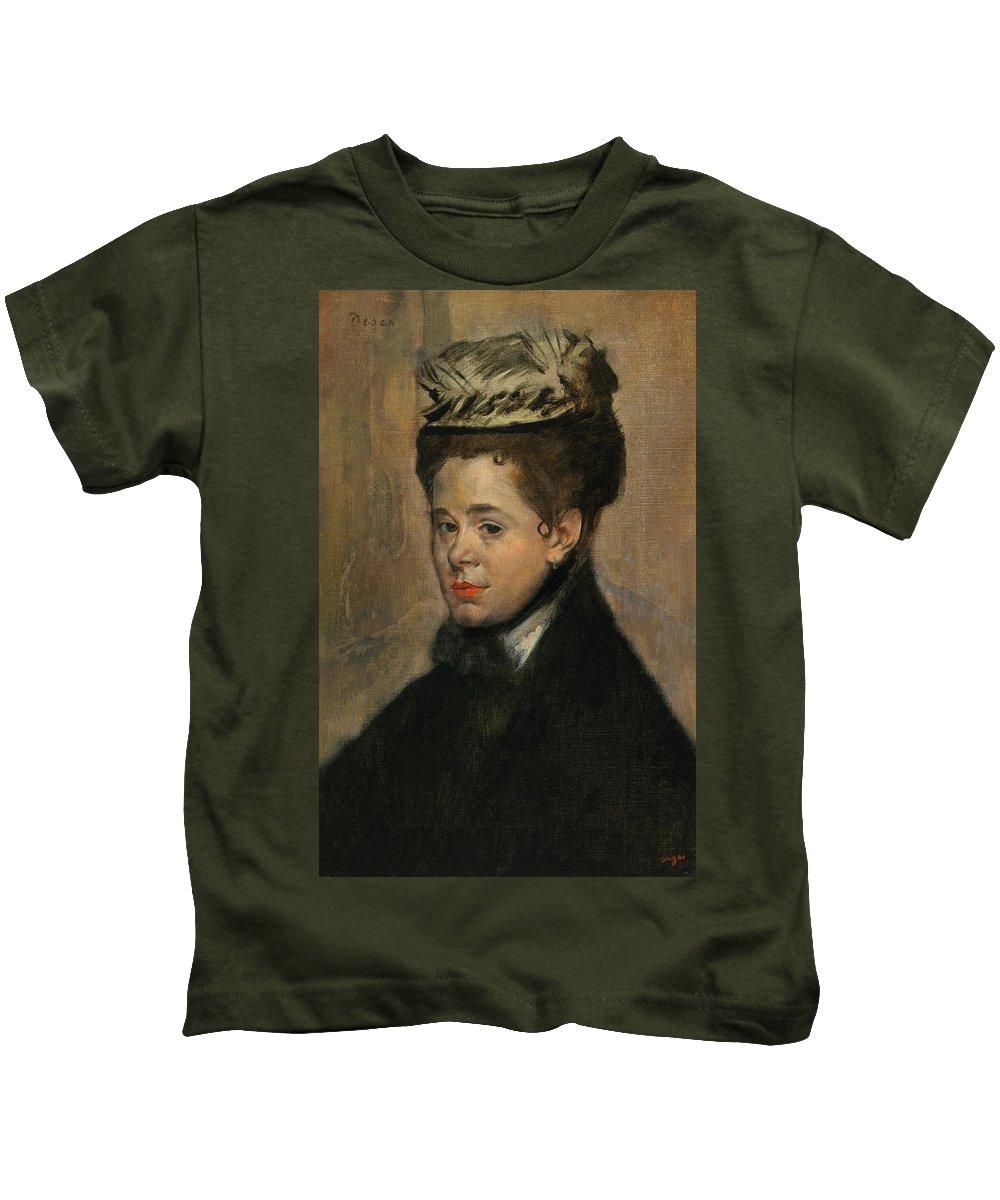 Edgar Degas Kids T-Shirt featuring the painting Bust Of A Woman by Edgar Degas