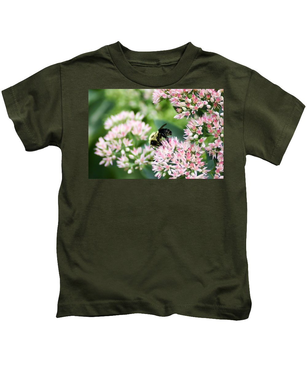 Busy Bumble Bee Kids T-Shirt featuring the photograph Busy Bumble Bee by Cynthia Woods
