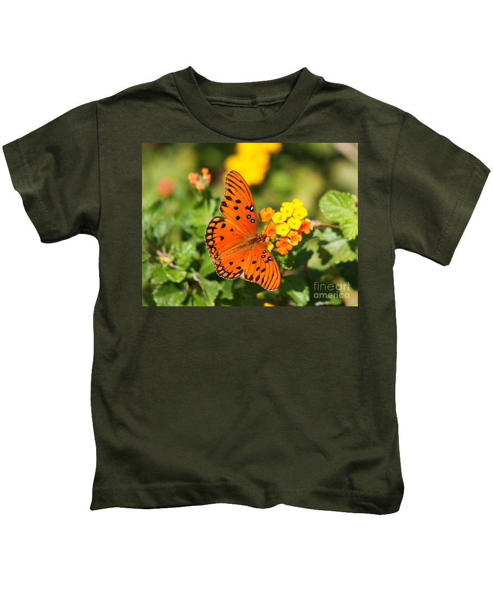 Butterfly Kids T-Shirt featuring the photograph Butterfly In The Glades - Gulf Fritillary by Christiane Schulze Art And Photography