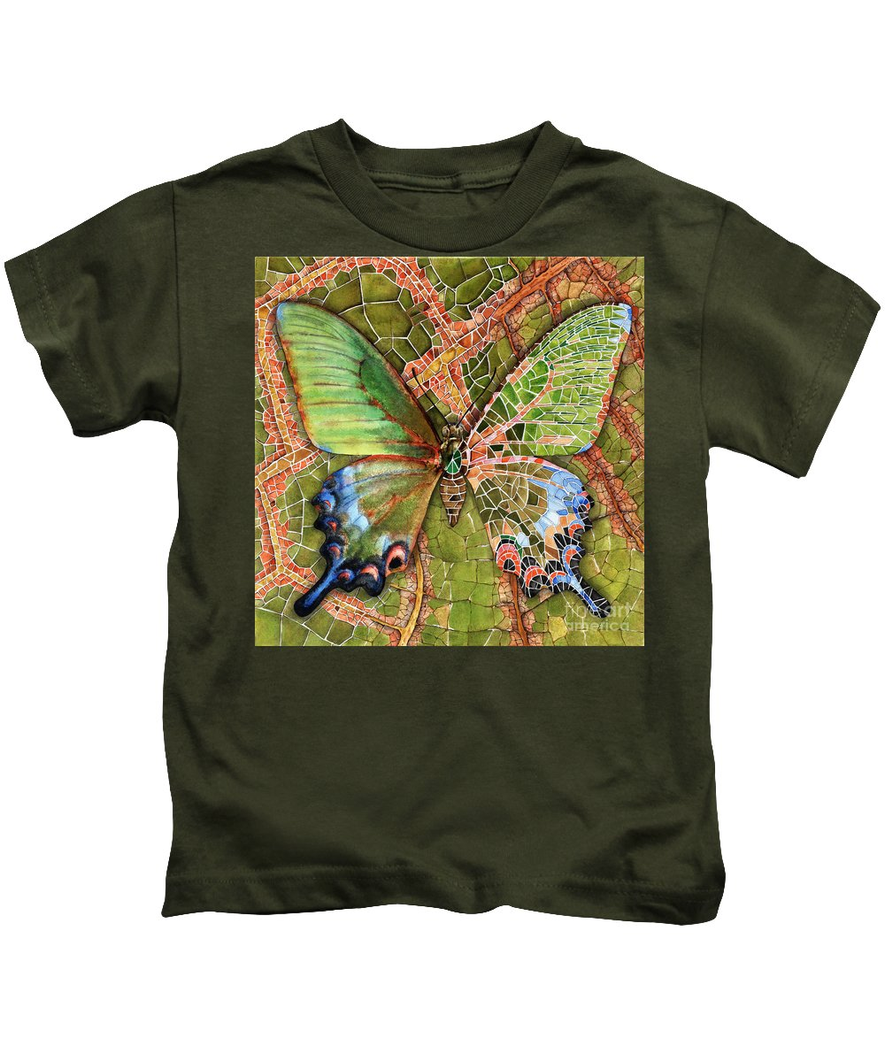 Butterfly Kids T-Shirt featuring the painting Butterfly Mosaic 03 Elena Yakubovich by Elena Yakubovich