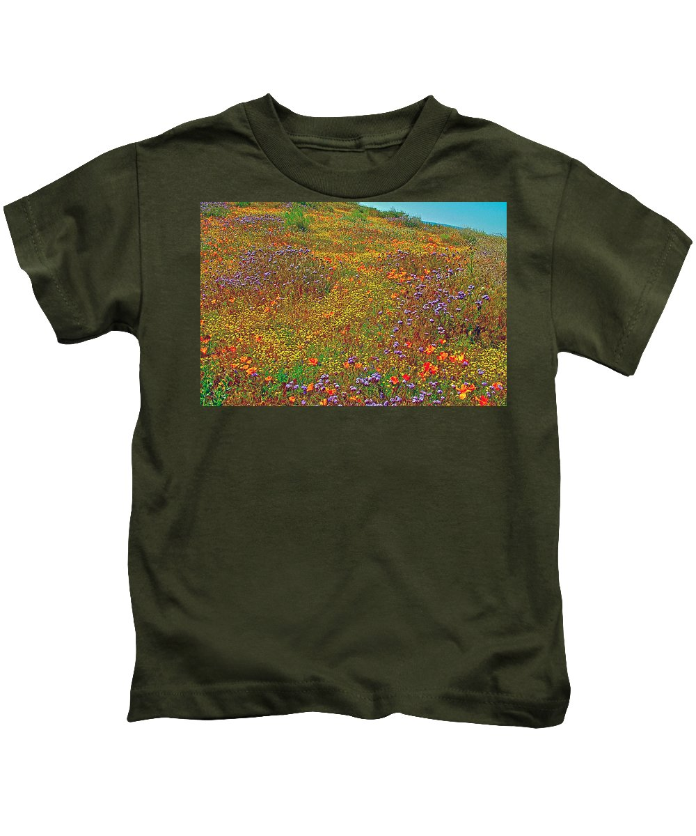 Ca Poppies And Goldfields And Lacy Phacelia In Antelope Valley Ca Poppy Reserve Kids T-Shirt featuring the photograph Ca Poppies And Goldfields And Lacy Phacelia In Antelope Valley Ca Poppy Reserve-california by Ruth Hager