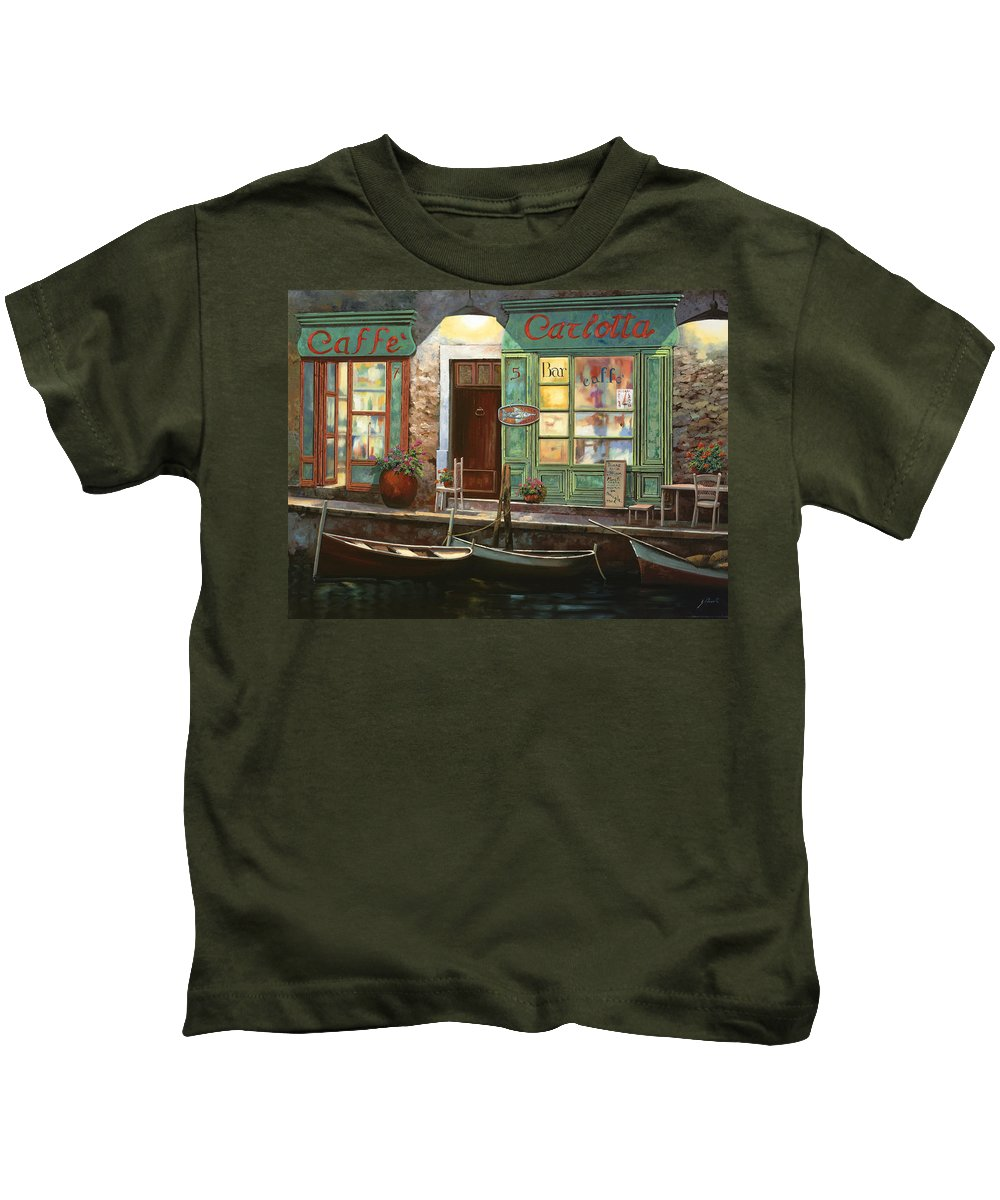 Venice Kids T-Shirt featuring the painting caffe Carlotta by Guido Borelli