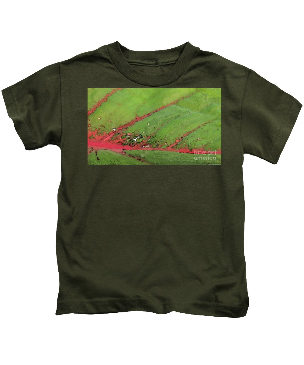 Nature Kids T-Shirt featuring the digital art Caladium Leaf And Drop by Debbie Portwood