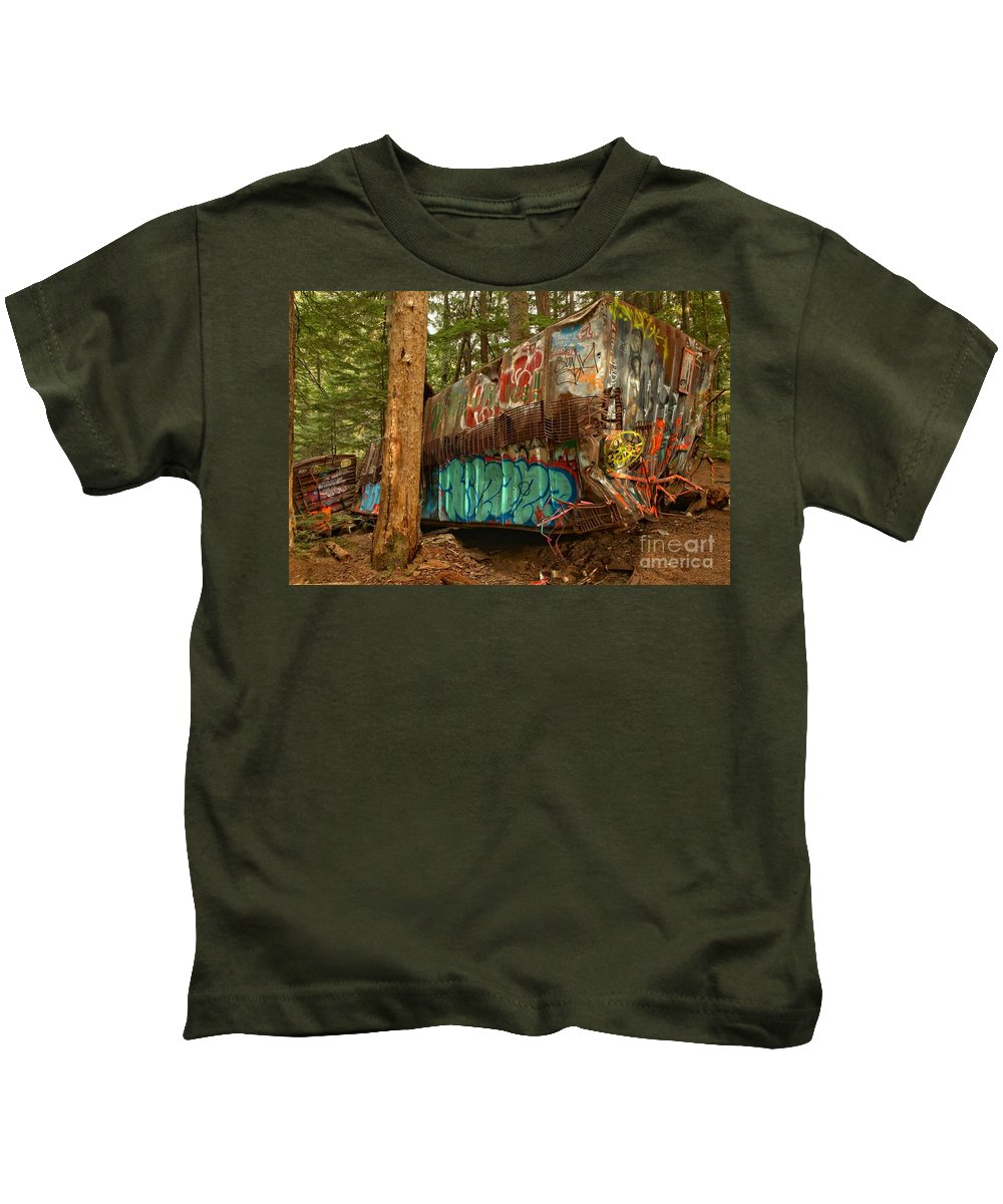 Train Wreck Kids T-Shirt featuring the photograph Canadian Pacific Box Car Wreckage by Adam Jewell