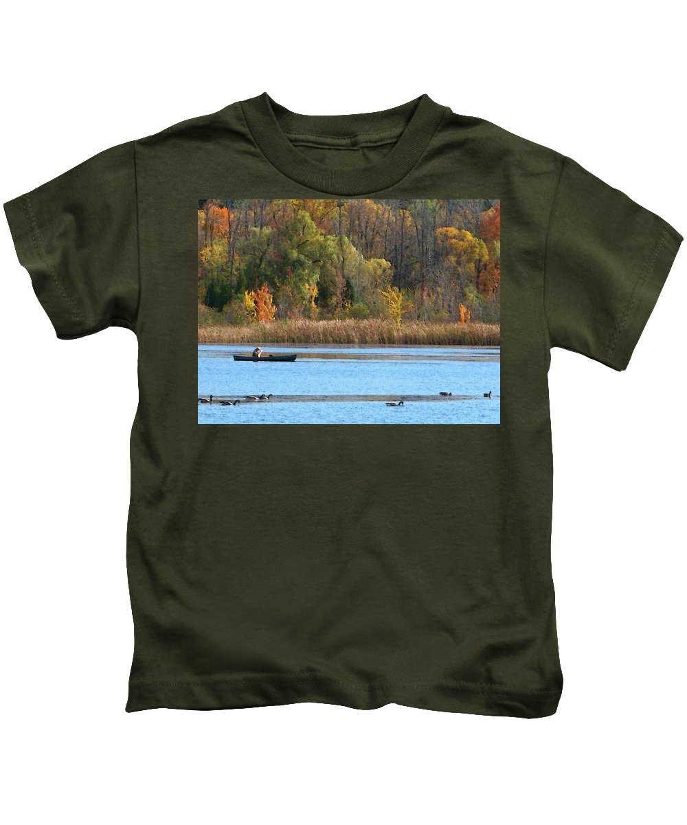 Canoe Kids T-Shirt featuring the photograph Canoer by Aimee L Maher ALM GALLERY