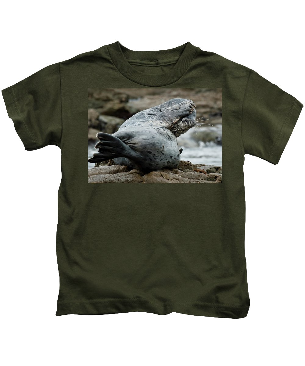 Seal Kids T-Shirt featuring the photograph Can't Bear To Look by Greg Nyquist