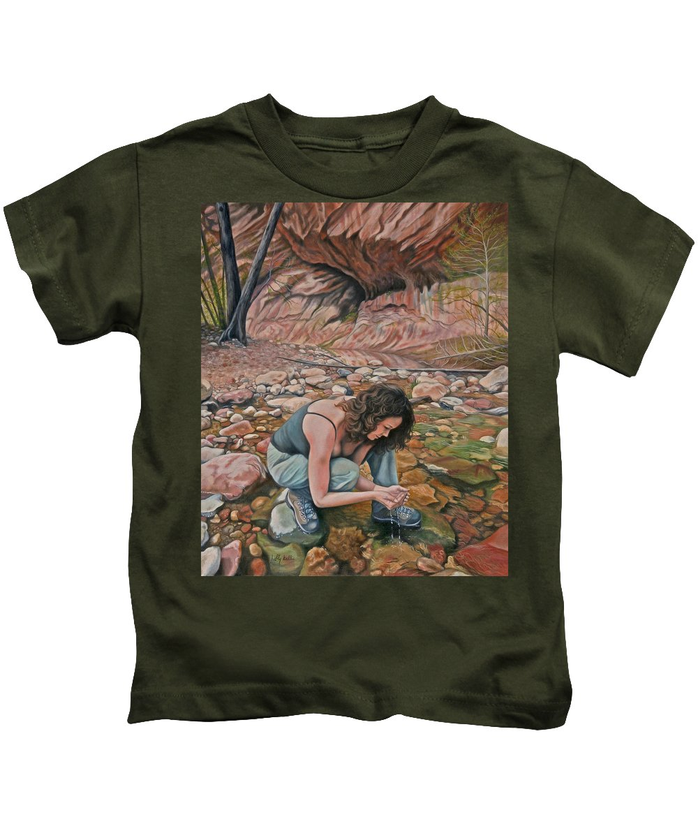 Realistic Kids T-Shirt featuring the painting Canyon Hike by Holly Kallie