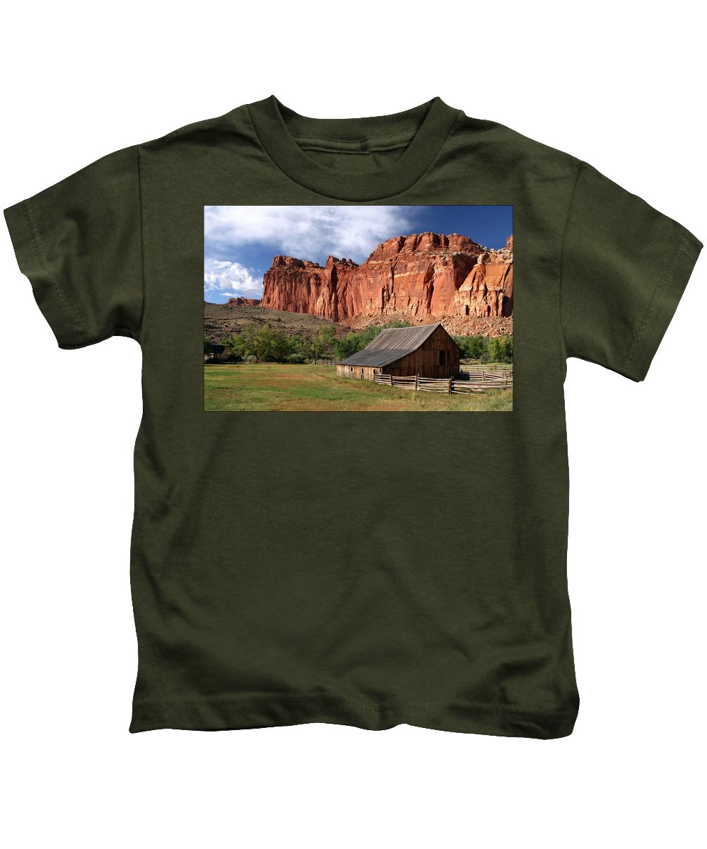 Capitol Reef Homestead Kids T-Shirt featuring the photograph Capitol Reef Homestead by Wes and Dotty Weber