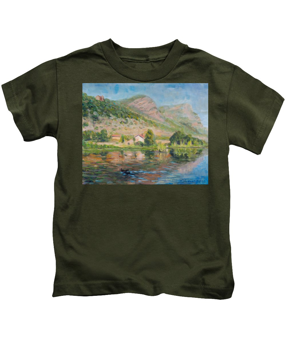 Water Reflection Landscape Italy Pond Dunk Impression Sun Sunny Kids T-Shirt featuring the painting Capodifiume by Marco Busoni
