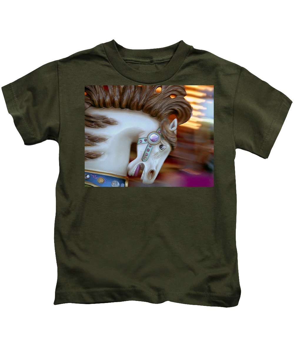 Carousel Kids T-Shirt featuring the photograph Carousel Horse by Paul DeRocker