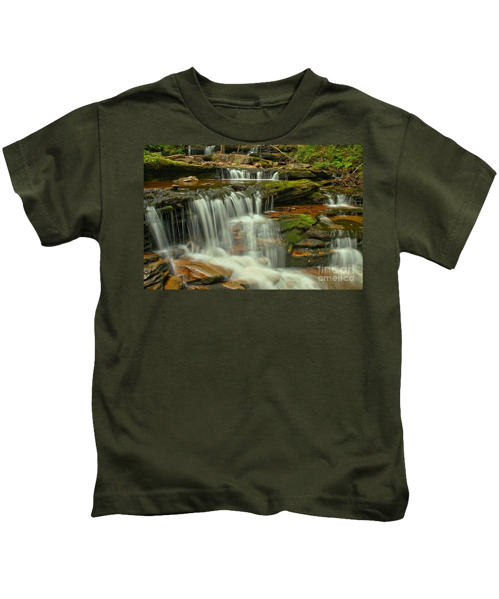 Ricketts Glen Kids T-Shirt featuring the photograph Cascading Everywhere At Ricketts Glen by Adam Jewell