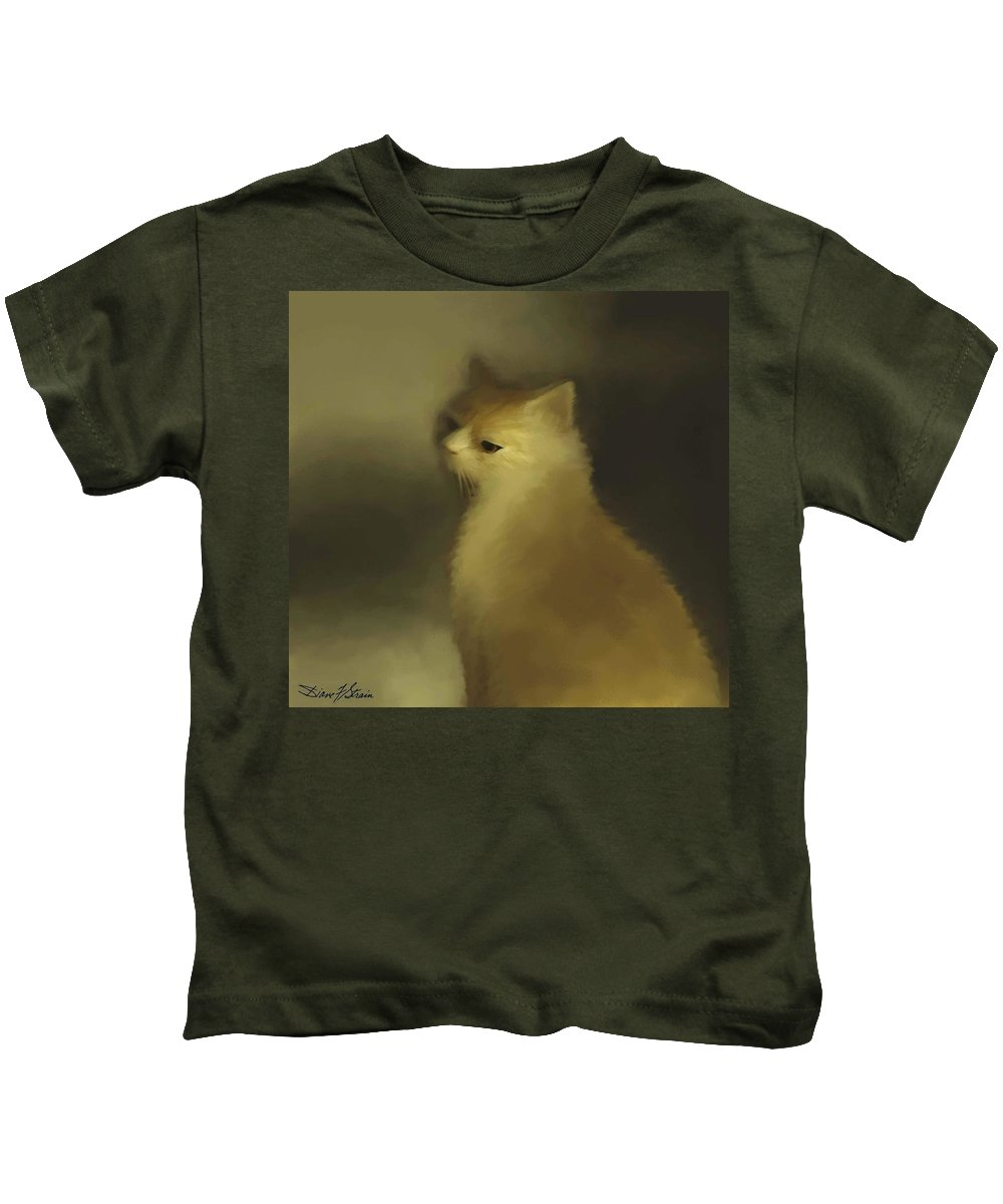 Diane Strain Kids T-Shirt featuring the painting Cat Portraiture by Diane Strain
