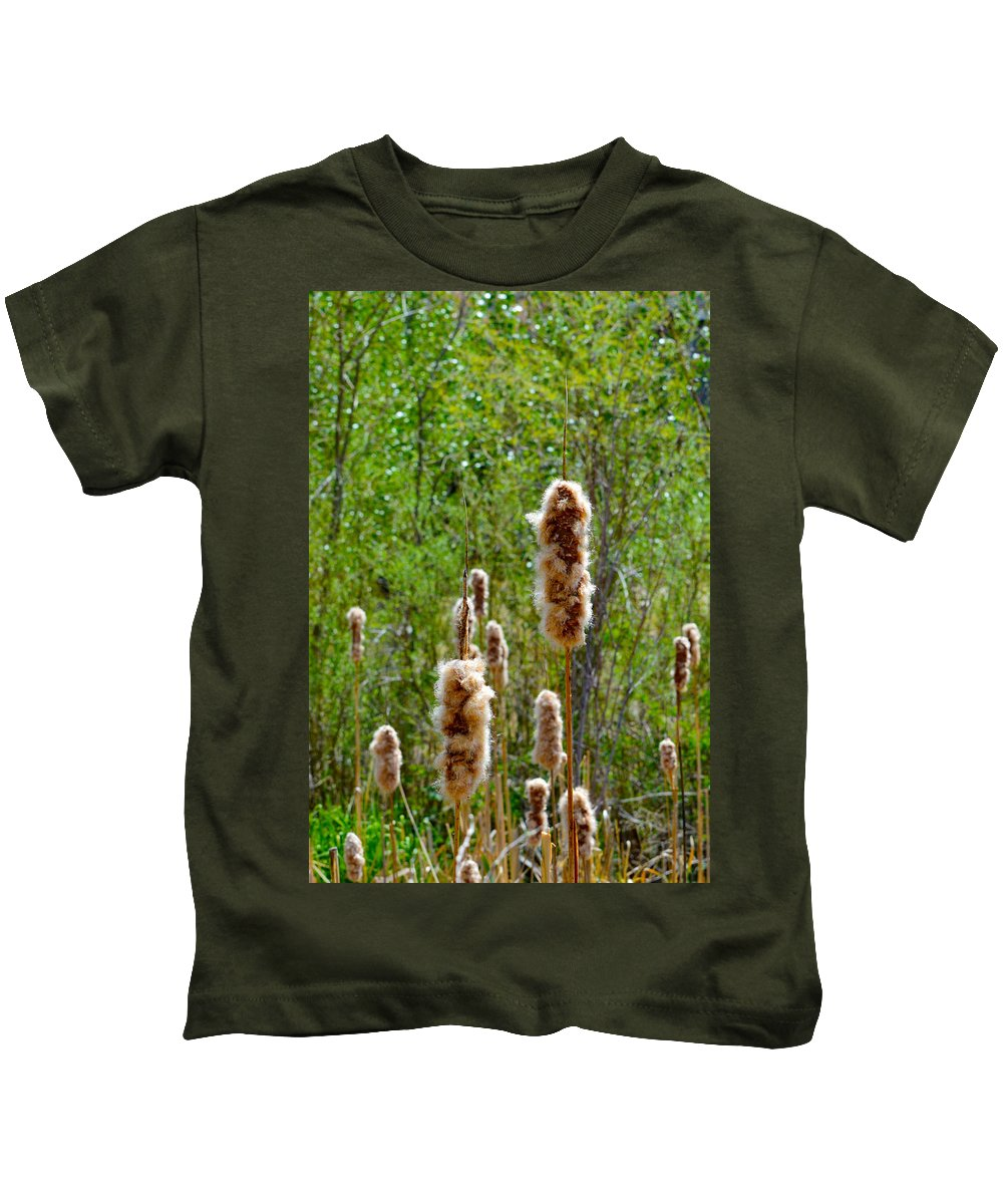 Fuzz Kids T-Shirt featuring the photograph Cat Tails by Brent Dolliver